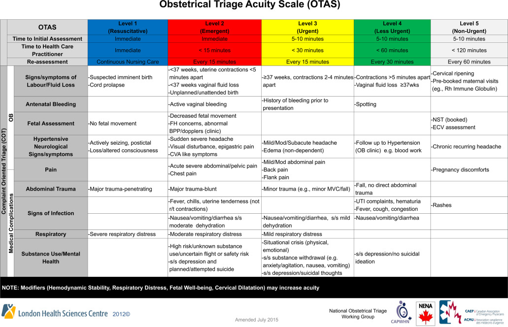 Acuity Assessment In Obstetrical Triage Journal Of